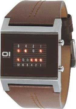 Square Binary Watch - Brown