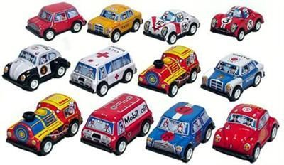 Tin toys wind up cars
